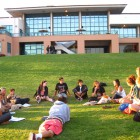 The Student Food Collective gathers for their weekly meeting at the Lagoon Lawn