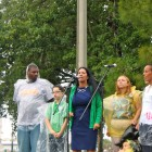 Cheri Honkala (center), Vice Presidential Candidate for the Green Party, speaks at a rally on Monday, August 27