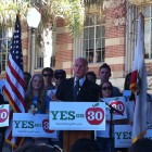 "It's a simple yes or no vote and for your sake, for the future's sake, for all of California, vote yes on proposition 30,"" said Gov. Brown, closing the rally for proposition 30 today on the UCLA campus."