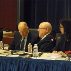 From Left to Right: Governor Brown, UC President Mark Yudof, and Chairman Sherry Lansing during today's UC Regents meeting