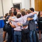The AS Senators enjoy their last group hug of the year. (Photo by Lorenzo Basilio)