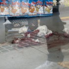 Blood in IV Deli Mart the morning after the shootings on May 24. (Photo by Mark Brocher)