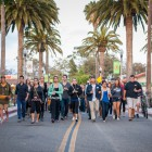 Students walk down Pardall Road where IV Deli Mart is located on their way to Anisq'Oyo Park in Isla Vista on May 24. (Photo by Lorenzo Basilio)