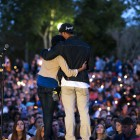 Speakers at the UCSB Candlelight Vigil in Anisq'Oyo Park on May 24. (Photo by Mark Brocher)