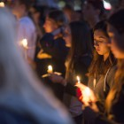 A community members at the UCSB Candlelight Vigil in Anisq'Oyo Park on May 24. (Photo by Mark Brocher)