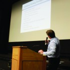 David Lackie, Supervising Planner for the Santa Barbara County Planning and Development agency, presenting parking survey statistics.