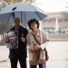 Black Studies professor Mia White speaks to demonstrators about the impact Dr. King had on the civil rights movement.