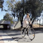 "Students bike through Pardall Tunnel, an area that has a ""higher risk of injuries and complaints than most other places on campus,"" according to University of California Police Department Corporal Matt Stern. Photo by Sanda Zhao/The Bottom Line."